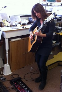 Natasha practicing on her Boss RC-300 Loop Station